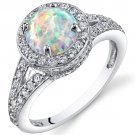 Sterling Silver 1.25 Carat Round Opal Ring