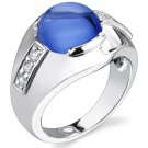 Men's Sterling Silver 7 Carat Created Blue Sapphire Ring