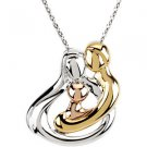 Sterling Silver Tri-Color Embraced by the Heart™ Family Necklace - 1 Child