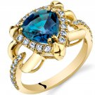 14K Yellow Gold 2.25 Carat Created Alexandrite Trillion Cut Ring