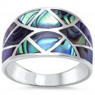 Sterling Silver Abalone Shell Fashion Ring