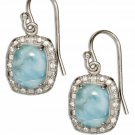 Sterling Silver Cushion Shape Larimar & CZ Earrings