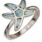 Sterling Silver Larimar Starfish Ring