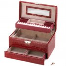Red Snakeskin Multi-Level Jewelry Box