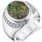 Men's Sterling Silver Created Black Opal Godfather Ring