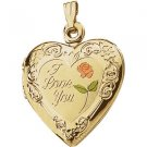 "14K Yellow Gold & Enameled ""I Love You"" Heart Locket"