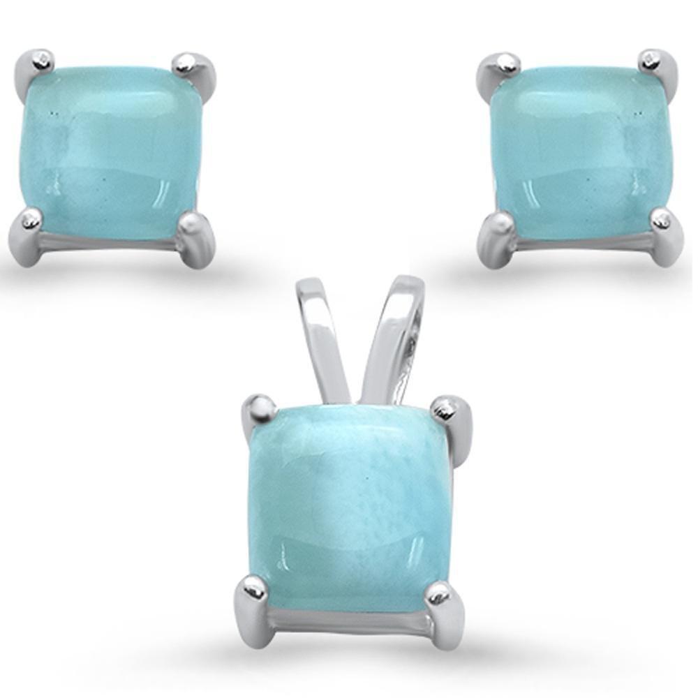 Sterling Silver Natural Larimar Earrings & Pendant Set