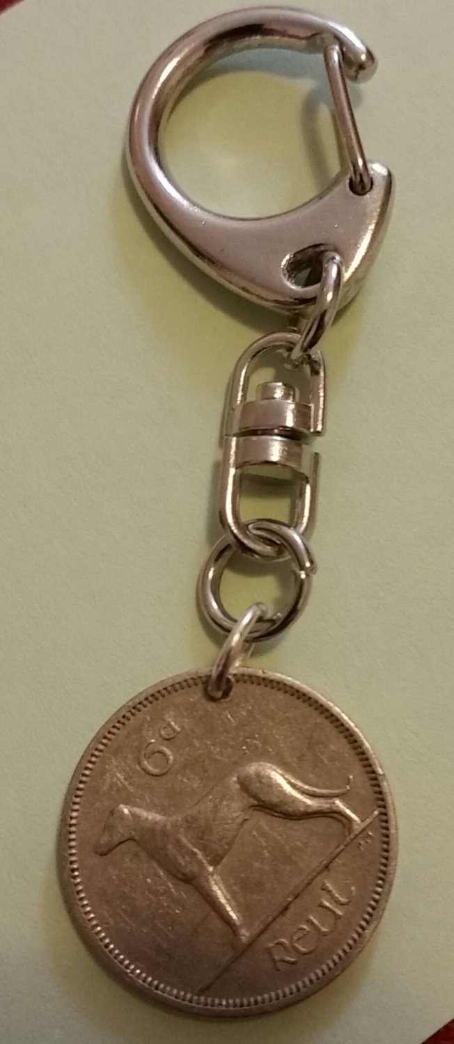 "Irish pre-decimal "" Reul"" keyring,  Irish gift"