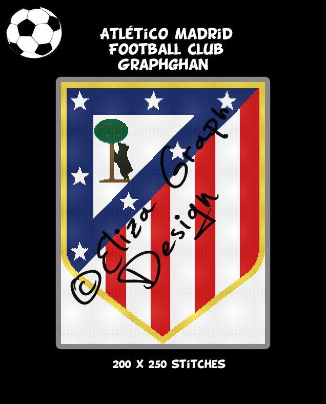 Atletico Madrid Football Club logo crochet graphghan pattern