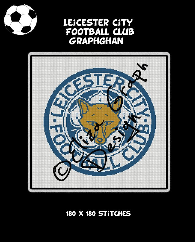 Leicester City Football Club logo crochet graphghan blanket pattern