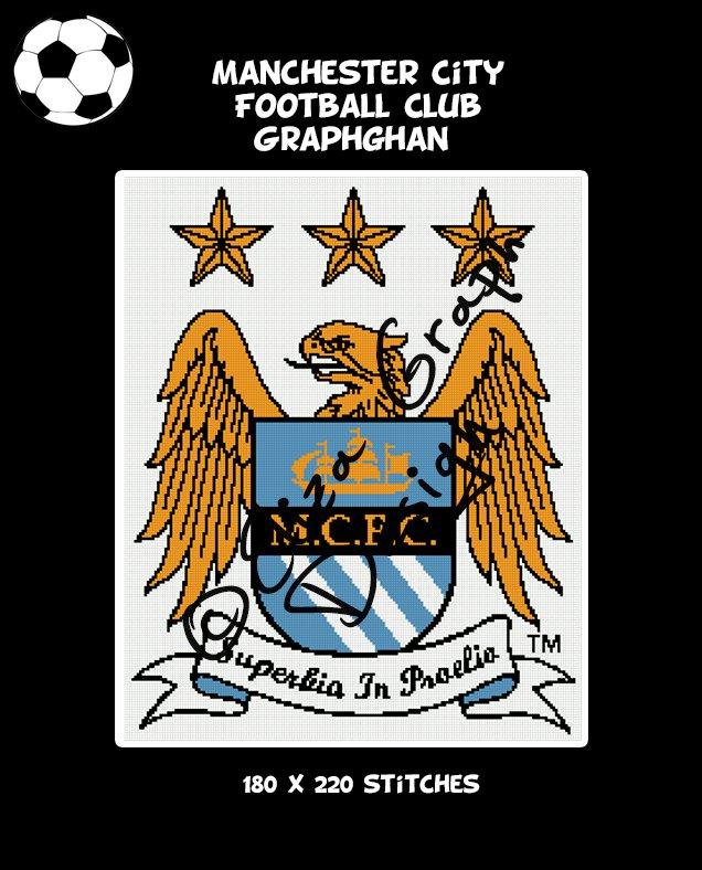 Manchester City Football Club logo crochet graphghan blanket pattern