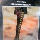 Fashion tights black with gold design 100% nylon Hosiery pantyhose