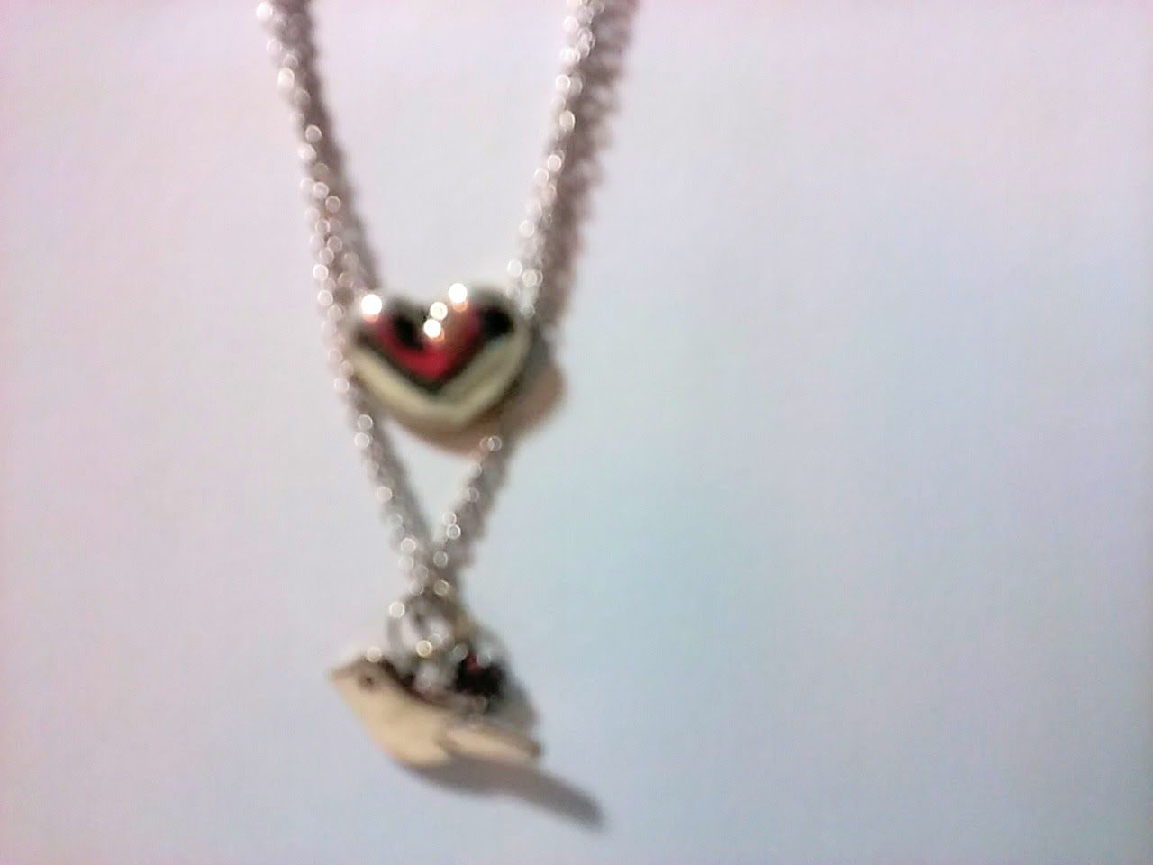 Antique style necklace with a bird and heart charms 18 INCH CHAIN