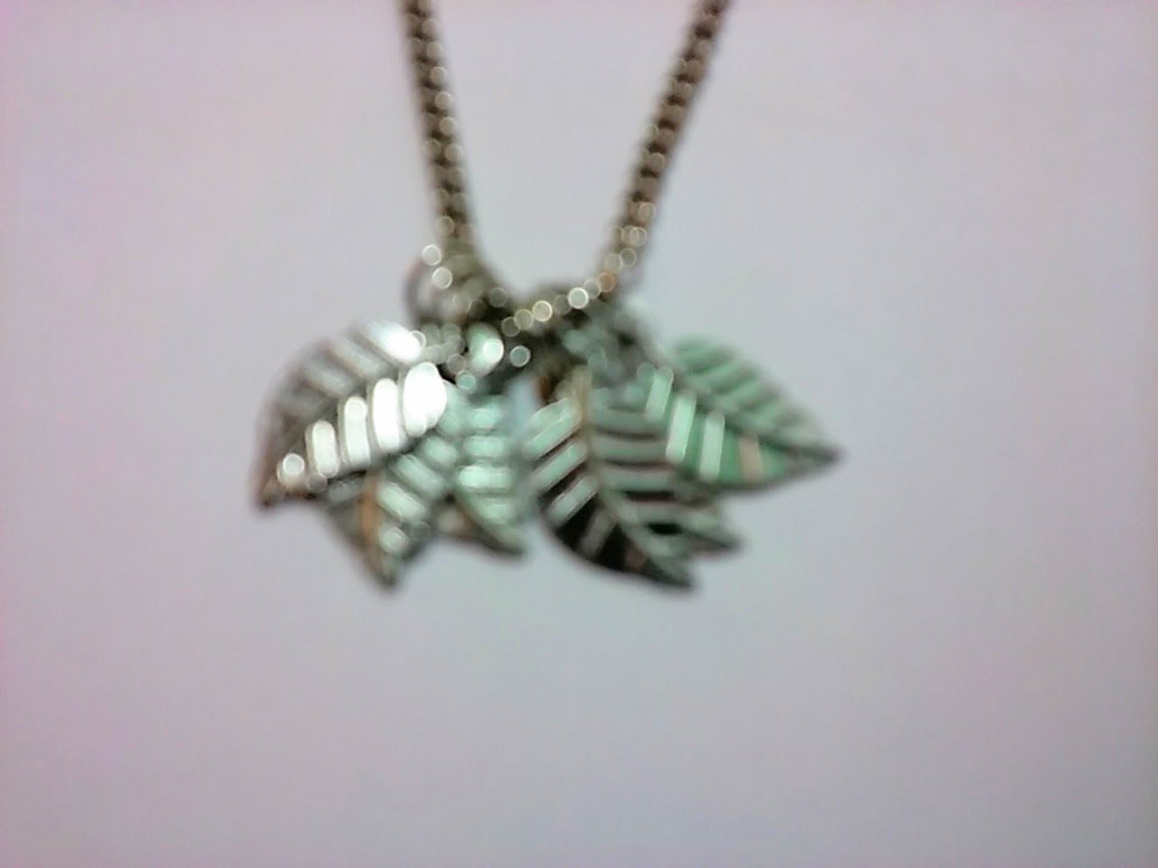 Silver necklace with five leaf charms 18 INCH CHAIN