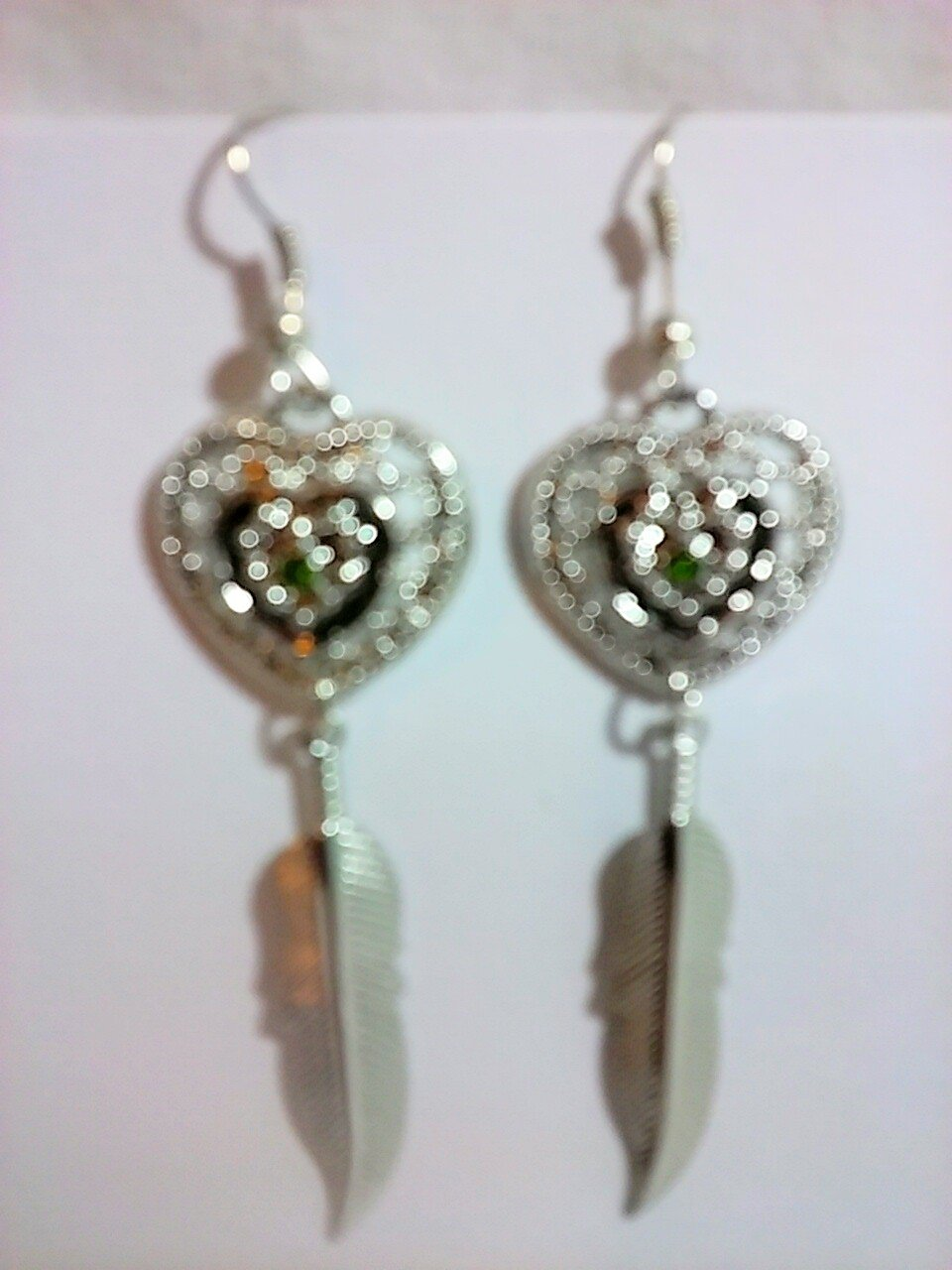 Beautiful Heart and Feather Earrings