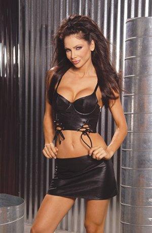 Leather Mini Skirt w/ Lace Up Back & Side Zipper Size: 3X (Plus Size Lingerie)