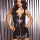 Zip Front Leather Mini Dress. Leather Back Size: 3X  (Plus Size Lingerie)