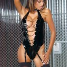 Vinyl Halter Teddy w/ Collar, Chain Front, Thong Back Size: 3X (Plus Size Lingerie)