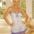 Floral Print Striped Flowered Baby Doll Size: 2X (Plus Size Lingerie)