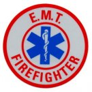 "3"" Round Reflective Decal - EMT FIREFIGHTER"