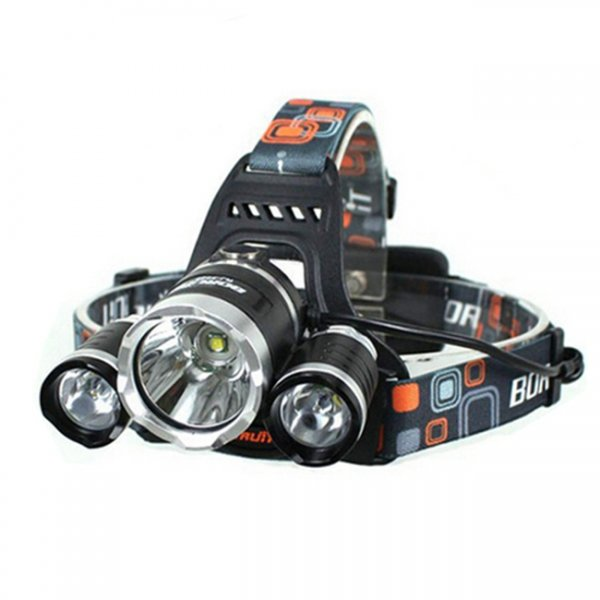 XML 3*T6 5000LM 4 Modes Single LED Headlamp Black