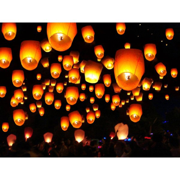 50 PCS White Paper Chinese Lanterns Sky Fire Fly Candle Lamp Wish Party Wedding US