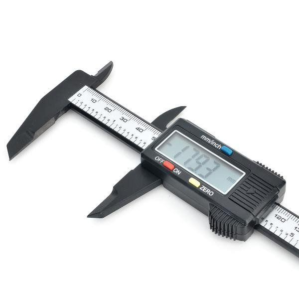 1.6'' LCD 150mm Carbon Fiber Digital Caliper Black & Silver Gray