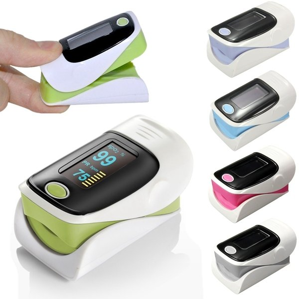 "1.1"" OLED Screen SPO2 Heart Rate Monitor Fingertip Pulse Oximeter Green & Black & White"