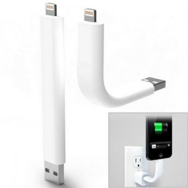 Flexible USB Charging Sync Data Cable / Stand for iPhone 5/5S/6/iPad Mini White (9cm)