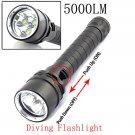 XM-L2 5000LM 100M Waterproof High Power White LED Diving Flashlight Black