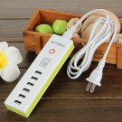 6 Port USB Charging Hub Green US Plug