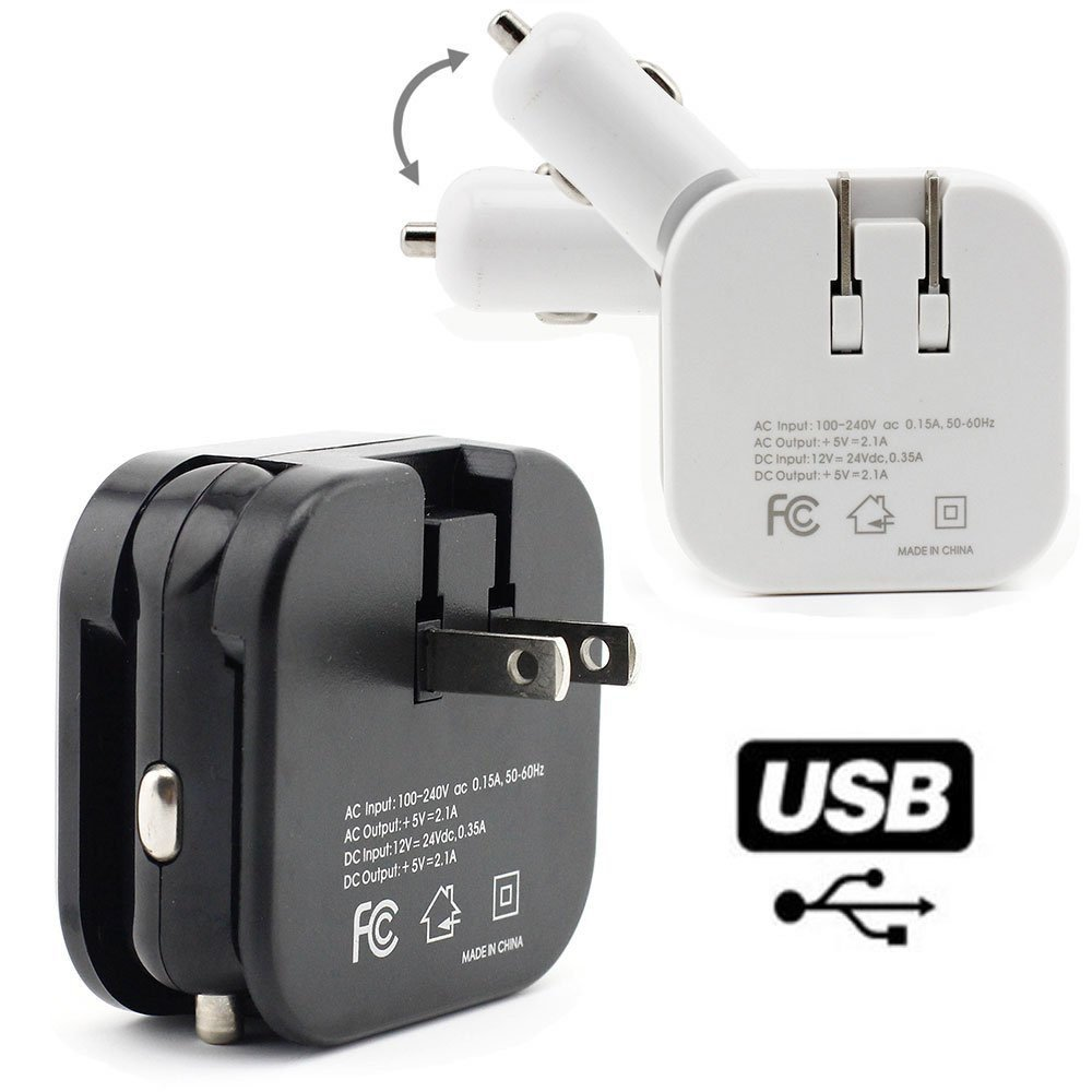 2-in-1 Home & Travel Charger with Dual 2.1 Amp USB Ports