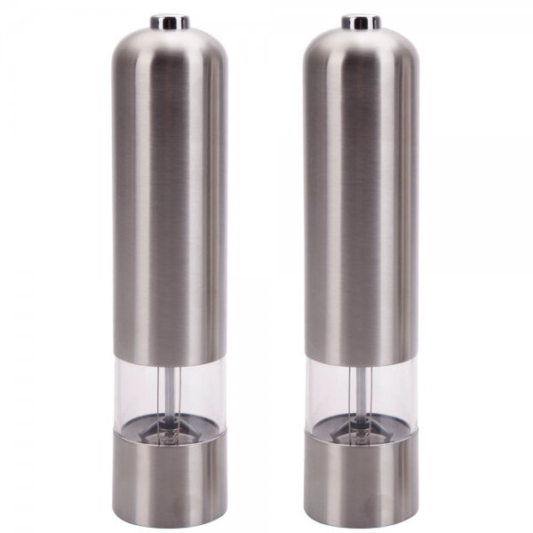2-Pack Electric Spice Salt Pepper Mill Grinder Stainless Steel Muller Home Tools