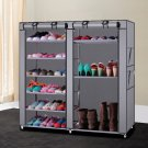 Portable Shoe Rack Shelf Storage Closet Organizer Cabinet 6 Layer 12 Grid Grey