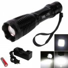 XML T6 1800LM 5 Mode Focus LED Flashlight With 18650 Battery and Battery Charger