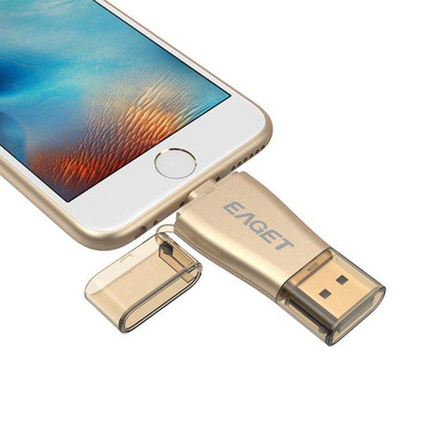 Eaget OTG USB 3.0 Flash Drive 64GB MFI Gold