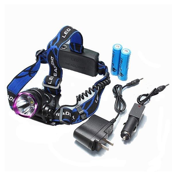 LT-2000LM CREE XML T6 LED Aluminum 1-bulb 3 Modes Waterproof Headlamp (2*18650) Purple & Black