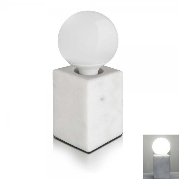 Modern Minimalist Solid Marble Square Pure White Table Lamp Bedside Lamp Desk Lamp