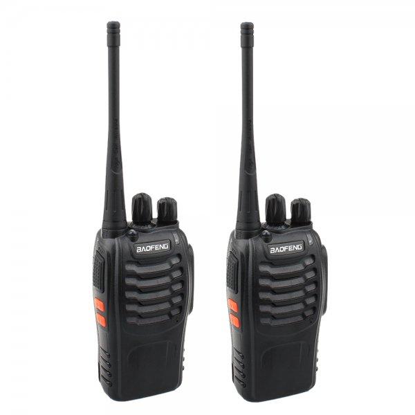 2-Pack BF-888S 5W 400-470MHz 16-CH Handheld Walkie Talkies Black