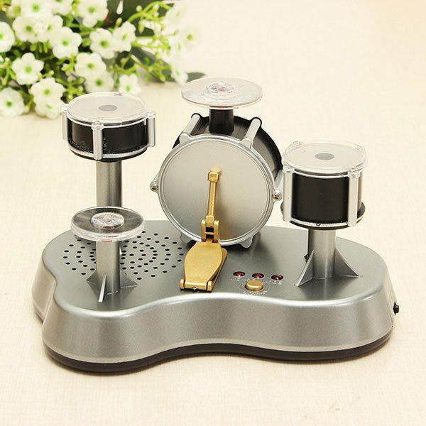 Mini Finger Touch Drum Set Jazz Music Instrument Drumming Percussion with Game Mode Gray