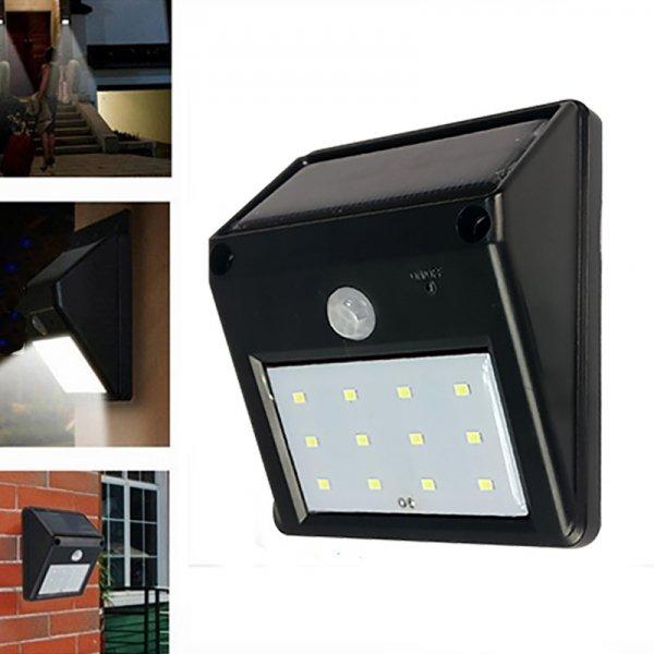 12-LED Solar Powered PIR Motion Sensor Light Outdoor Garden Security Wall Light