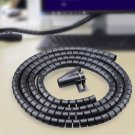 PE Cable Wire Spiral Tidy Wrap with Clip Organizer Black (250cm)