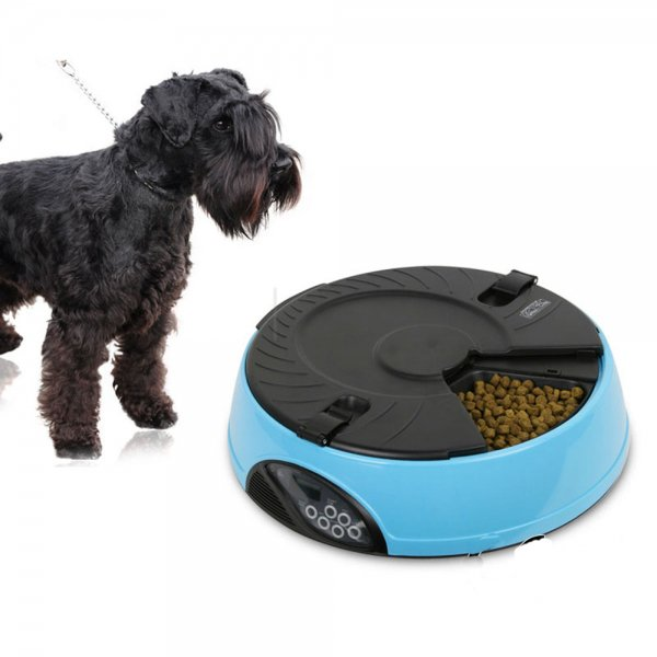 6-Meal Automatic Pet Feeder Auto Dog Cat Food Bowl Dispenser Electronic Blue