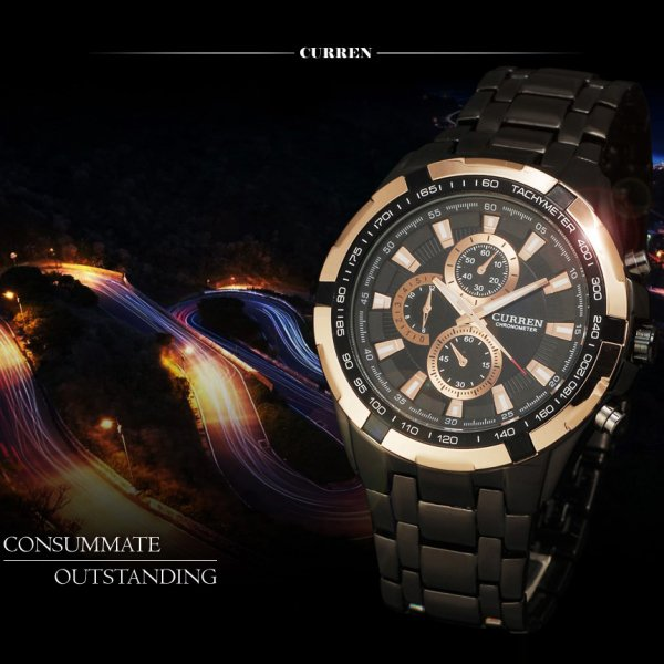 Business Men Waterproof Stainless Steel Quartz Wrist Watch Black Golden