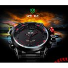 Sports Style Stainless Steel Quartz Analog LED Man Wrist Watch Black & Red