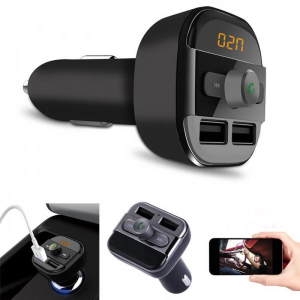 Wireless Bluetooth FM Transmitter Modulator Car Kit LED MP3 Player SD Dual USB Black