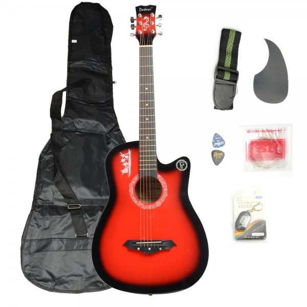 Basswood Guitar + Bag + Straps + Picks + LCD Tuner + Pickguard + String Set Red