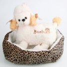 Soft Cotton Pet Dog Puppy Warm Waterloo Bed Nest with Pad Size S Leopard Print Brown