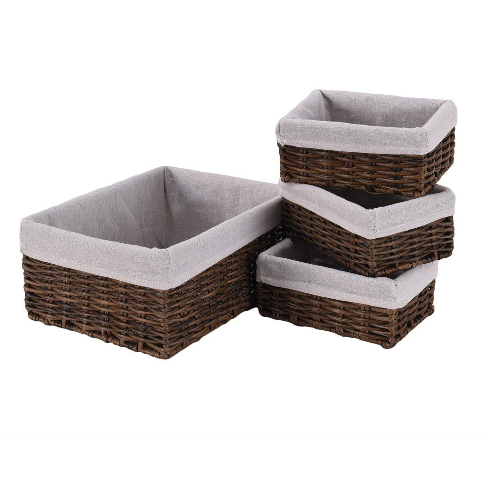 4-Piece Wicker Storage Nesting Baskets for Bedroom Bathroom Brown