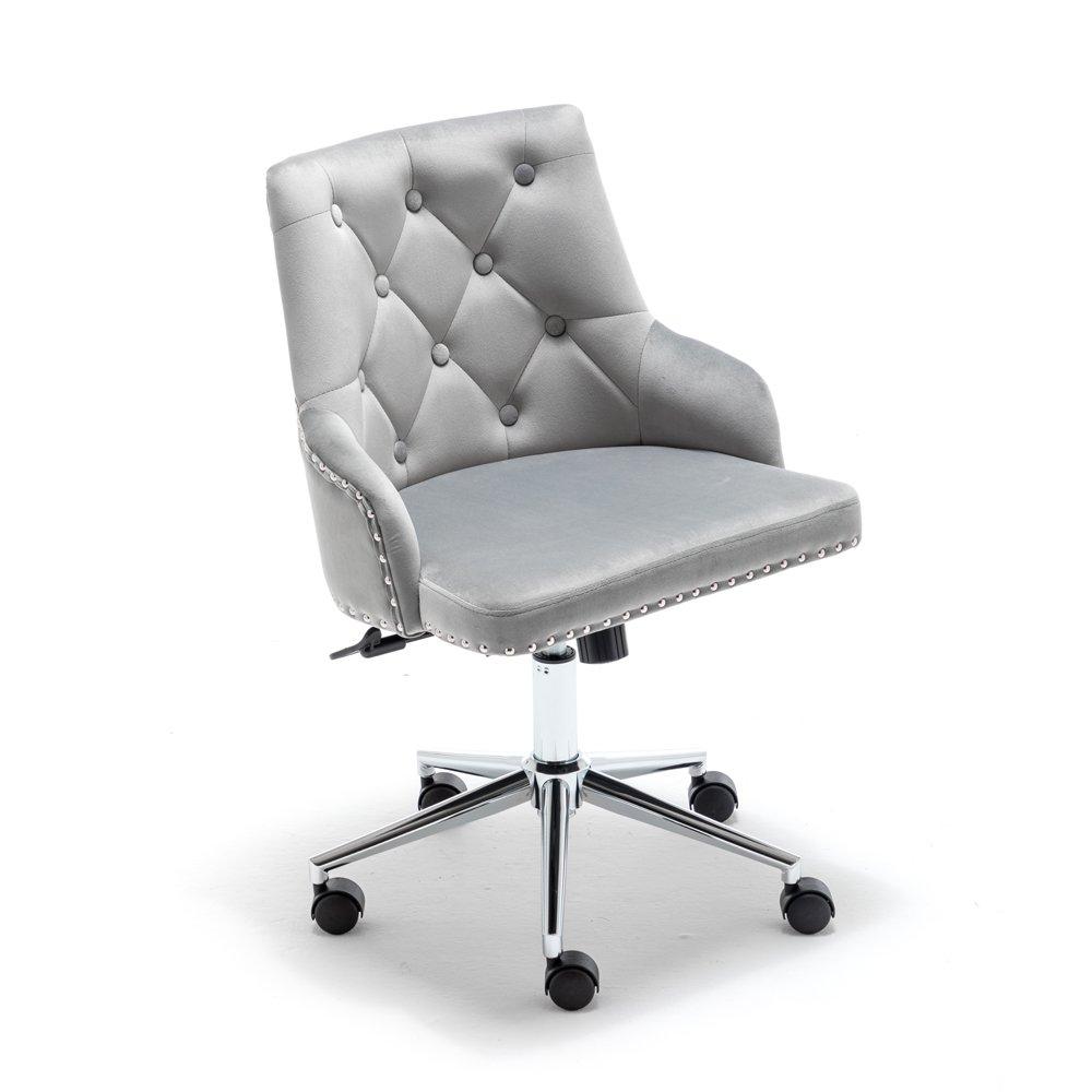 Modern Design Velvet Desk Task Chair with Arms Grey